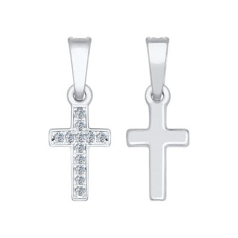 1030621-Маленький крестик из белого золота с бриллиантами