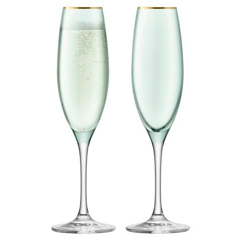 Набор из 2 бокалов флейт для шампанского Sorbet, 225 мл, зелёный