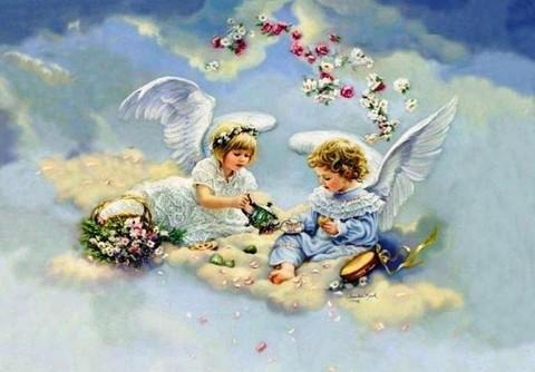 Алмазная Мозаика 40x50 Чаепитие ангелов на облаке (арт. VR1005)
