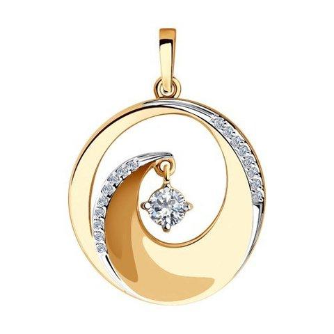 035857 - Подвеска из золота круглая с фианитами