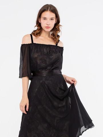 Фото двуслойная черная полупрозрачная блузка с пайетками на нижнем топе - Блуза Г579-207 (1)