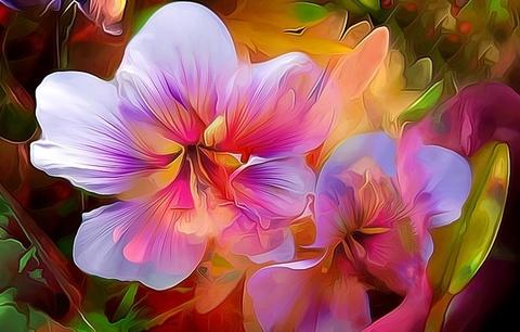 Алмазная Мозаика 38x28 Нарисованные цветы (арт. K1703)