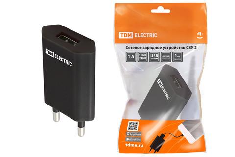 Сетевое зарядное устройство, СЗУ 2, 1 А, 1 USB, черный, TDM