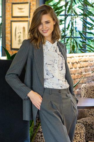 Блуза с принтом Домики