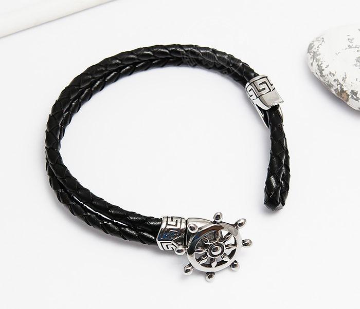 BM464 Мужской браслет из кожаного шнура со стальным штурвалом (20 см) фото 02