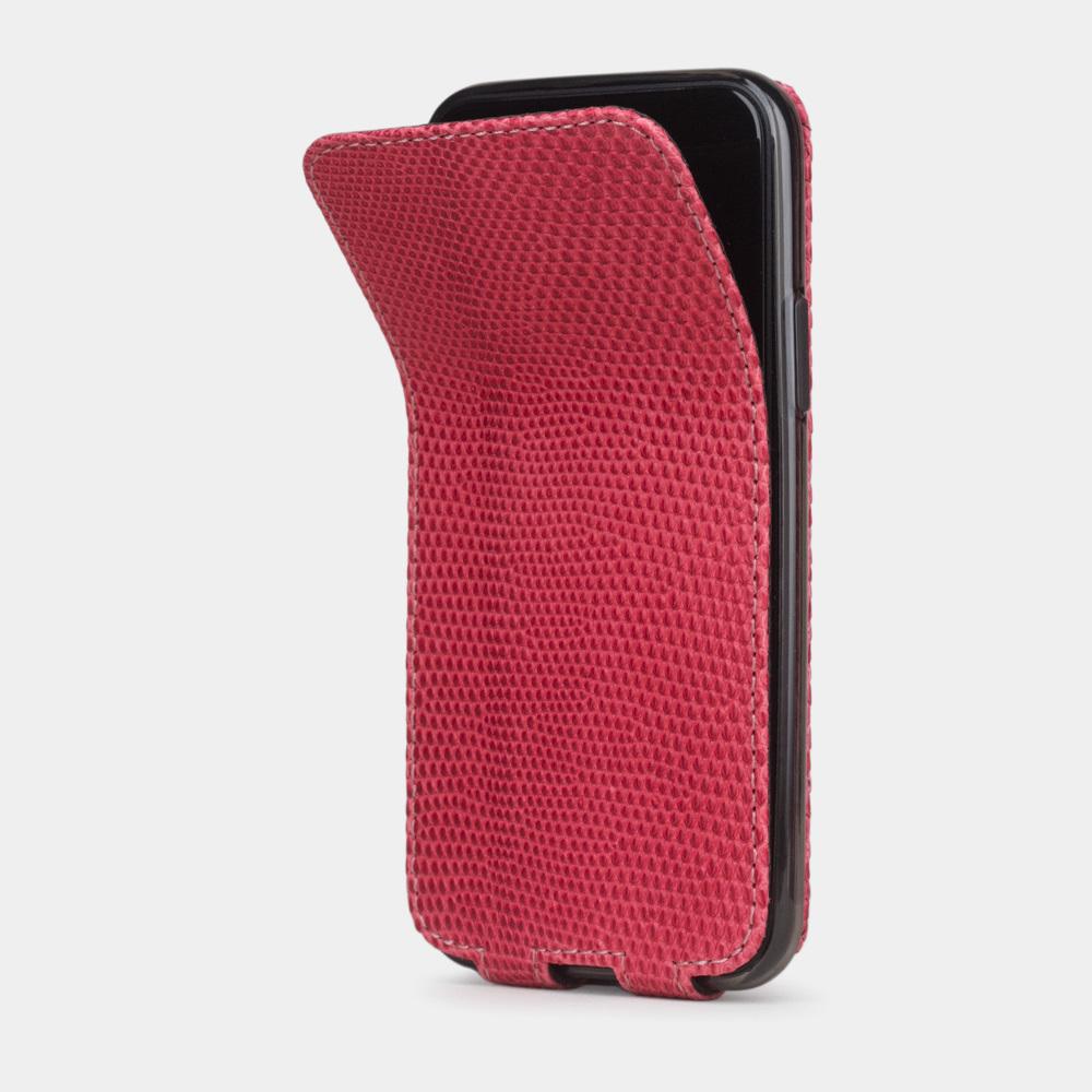 Special order: Чехол для iPhone 11 Pro из натуральной кожи ящерицы, кораллового цвета