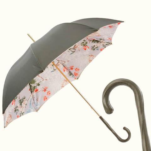 зеленый зонт с кожаной ручкой, журавли