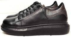 Кожаные женские кроссовки на платформе EVA collection 0721 All Black.