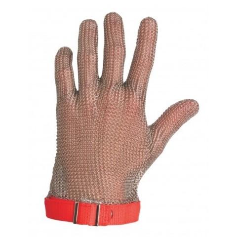 Перчатка кольчужная 5 пал (ML красная) | Soliy.com.ua