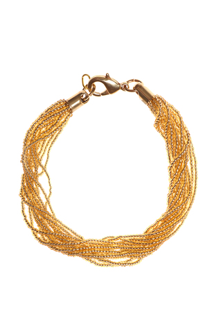 Бисерный браслет 12 нитей золотистый