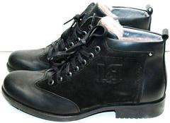 Молодежные мужские зимние ботинки с натуральным мехом Luciano Bellini 6057-58K Black Leathers & Nubuk.