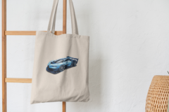 Сумка-шоппер с принтом Bugatti Vision Gran Turismo (Бугатти) бежевая 005
