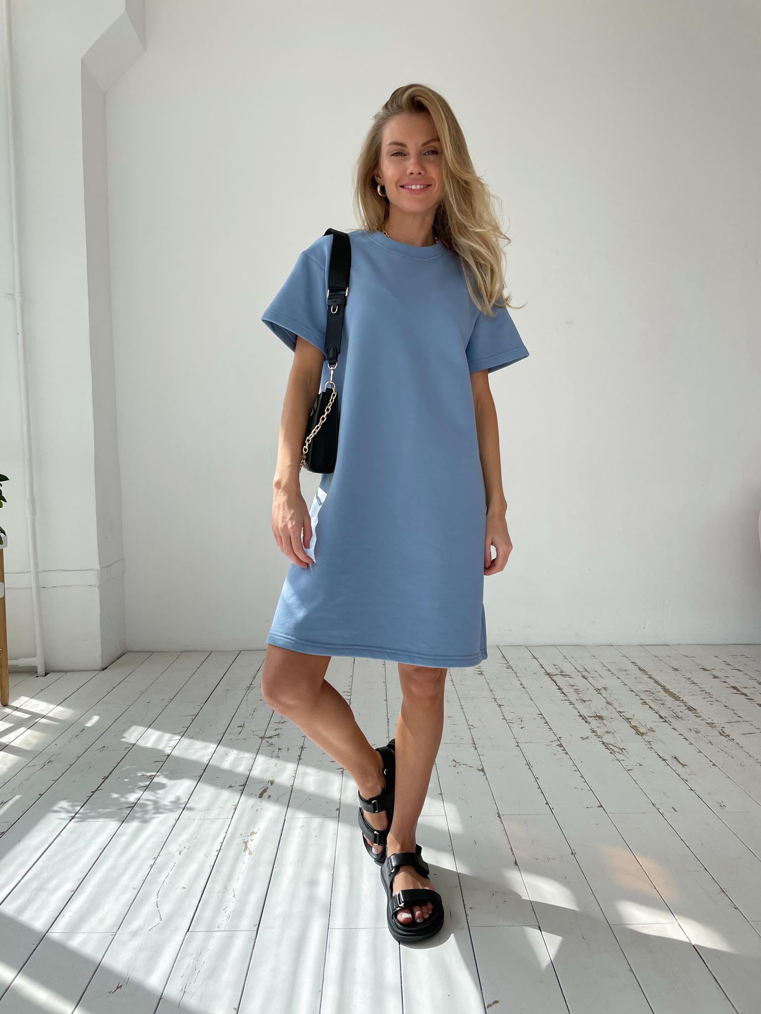 Платье-футболка футер (джинсовый)