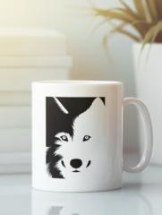 Кружка с изображением Волк (Wolf) белая 001