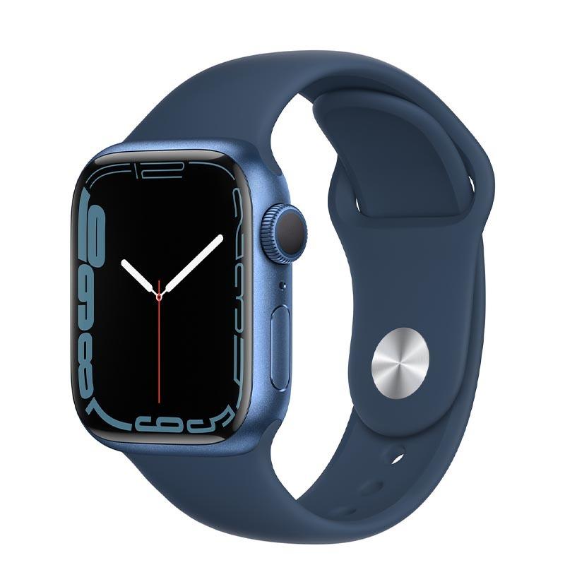 Apple Watch Series 7, GPS, 41 мм, корпус из алюминия синего цвета, спортивный ремешок «синий омут»