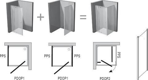 Душевая стенка Ravak Pivot PPS-100 сатин + транспарент 90GA0U00Z1 схема