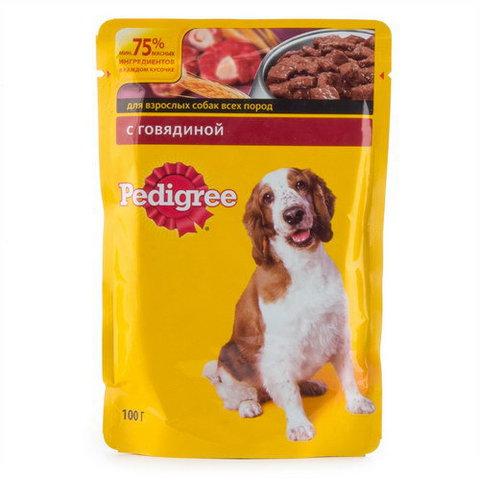 """Корм для собак Pedigree """"С говядиной для взрослых собак"""" 100г"""