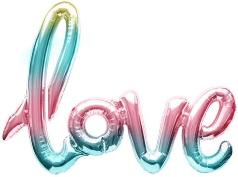 Фольгированная надпись LOVE радужная
