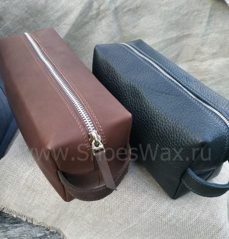 Кожаная сумка для хранения обувной косметики 22*11*10 см