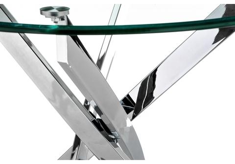 Кухонный стол  Komo 90 см Хромированные ножки, Круглый, стеклянный 90*90*73