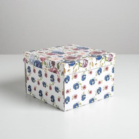 Коробка подарочная Цветы,  22*22*15 см