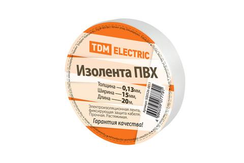 Изолента ПВХ 0,13*15мм Белая 20м TDM