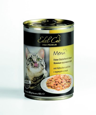Влажный корм (банка) Edel Cat delicate chunks in gravy with chicken, duck