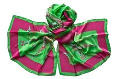 Шёлковый женский палантин зелёного цвета (1152 PAL 3)