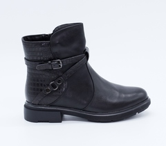 Черные кожаные полусапоги на низком каблуке