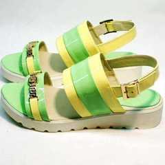 Модные босоножки без каблука сандалии женские кожа Crisma 784 Yellow Green.