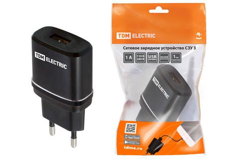 Сетевое зарядное устройство, СЗУ 3, 2,1 А, 1 USB, черный, TDM