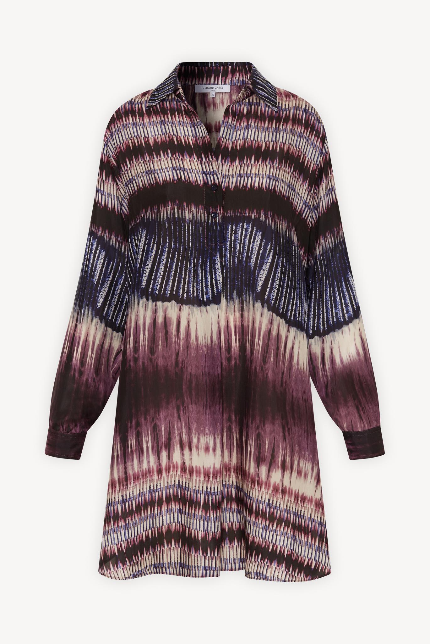 SADE - Короткое шелковое платье-рубашка с принтом тай-дай