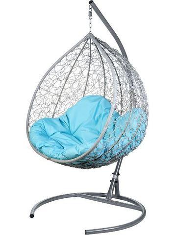 Двойное подвесное кресло Liverpool Twin Gray голубая подушка