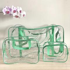 Прозрачная сумка в роддом с 2 косметичками, зеленая