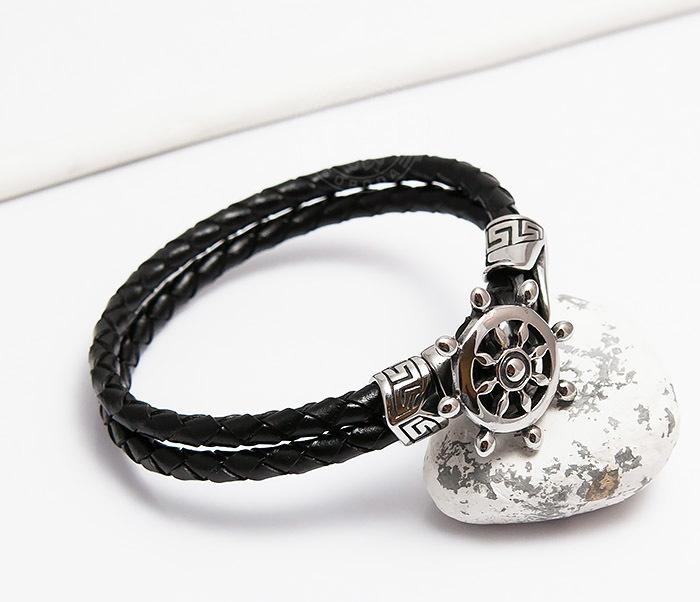 BM464 Мужской браслет из кожаного шнура со стальным штурвалом (20 см) фото 05