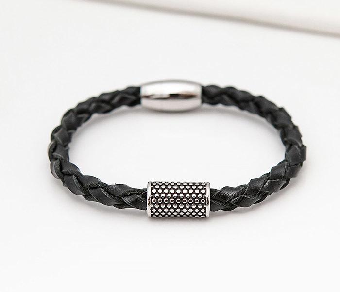 BL808-1 Мужской браслет из кожи со стальным цилиндром