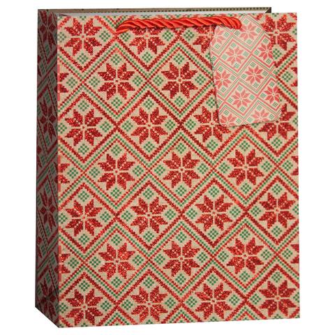 Пакет подарочный, Геометрические снежинки, Крафт, с блестками, 32*26*13 см