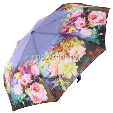 Плоский фиолетовый зонт автомат Lamberti «Пышные Розы»