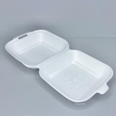 Ланч-бокс из вспененного полистирола (сендвич) 150х152х60 без делений белый