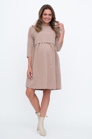 Платье для беременных и кормящих 12965 бежевый