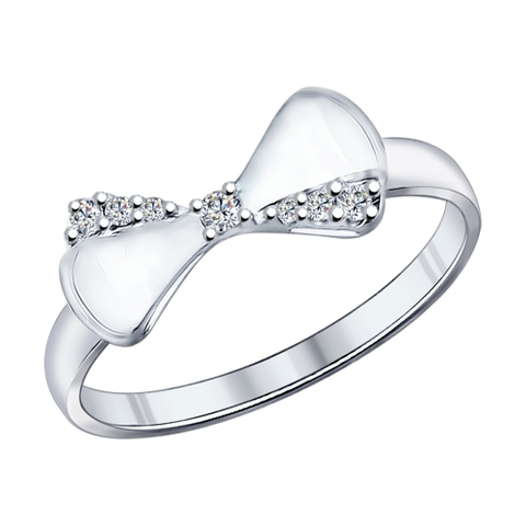 94011887 - Кольцо c Бантиком из серебра с фианитами