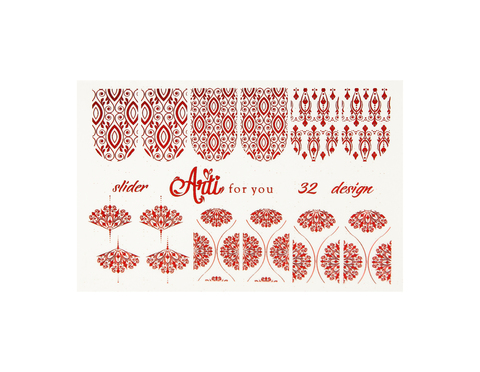 Фольга для дизайна ногтей красная 32 купить за 120руб