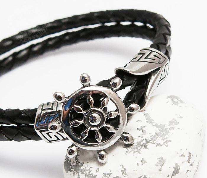 BM464 Мужской браслет из кожаного шнура со стальным штурвалом (20 см) фото 06