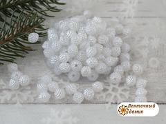 Бусины-биконус с пупырышками белые