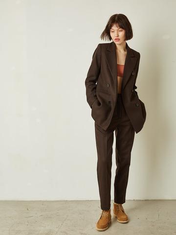 Жакет классического кроя из плотной шерсти т.коричневый