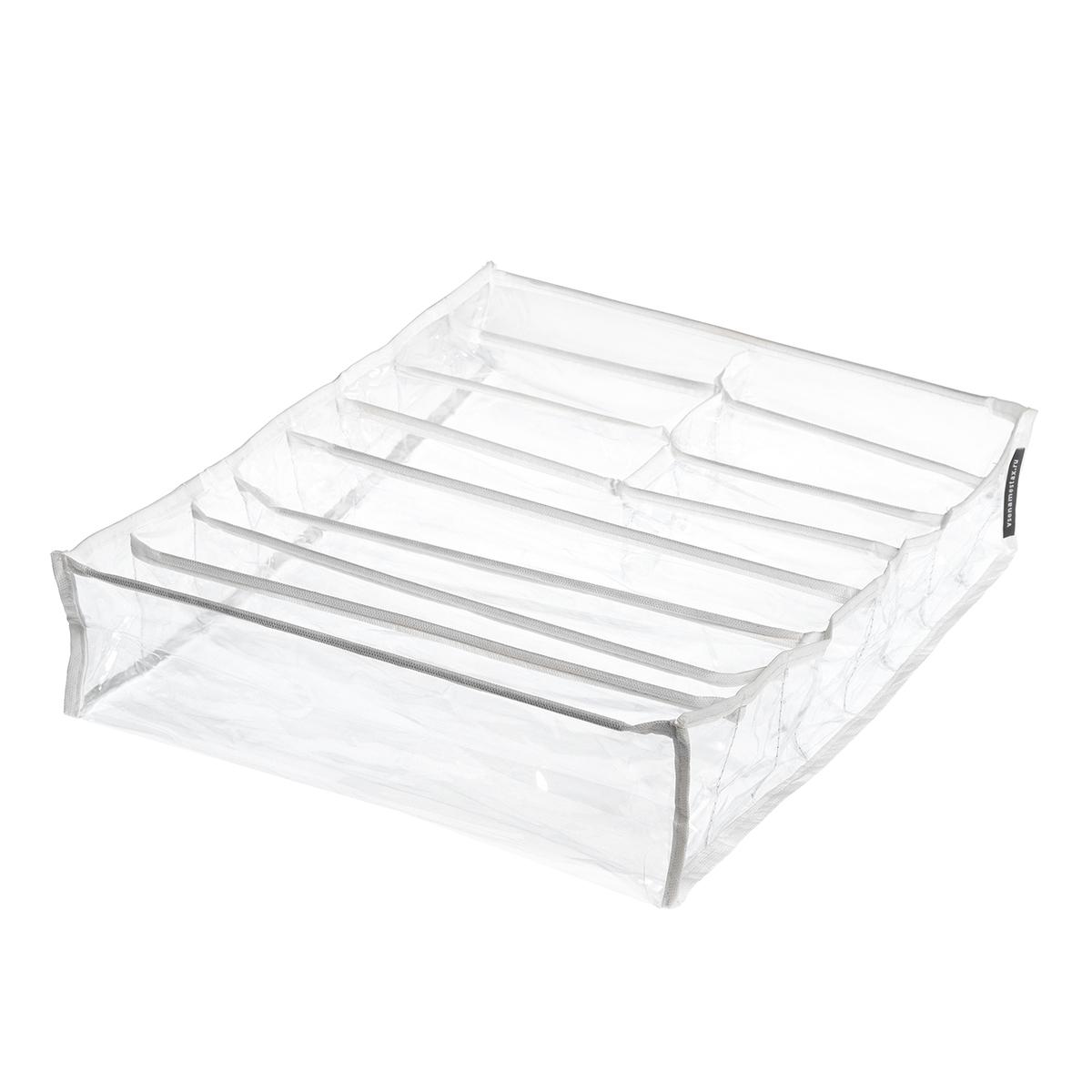 Органайзер прозрачный 40х35х10 см, 11 ячеек, Белый