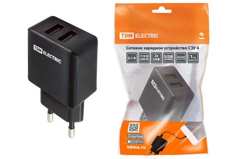 Сетевое зарядное устройство, СЗУ 4, 2,1 А, 2 USB, черный, TDM