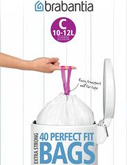 Мешки для мусора PerfectFit, размер С (10-12 л), упаковка-диспенсер, 40 шт.