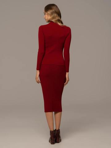 Женский свитер красного цвета из 100% шерсти - фото 5