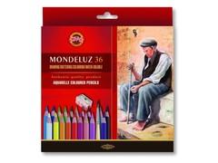 Набор художественных акварельных карандашей MONDELUZ OLD MAN 36 цветов с кисточкой и точилкой в картонной коробке